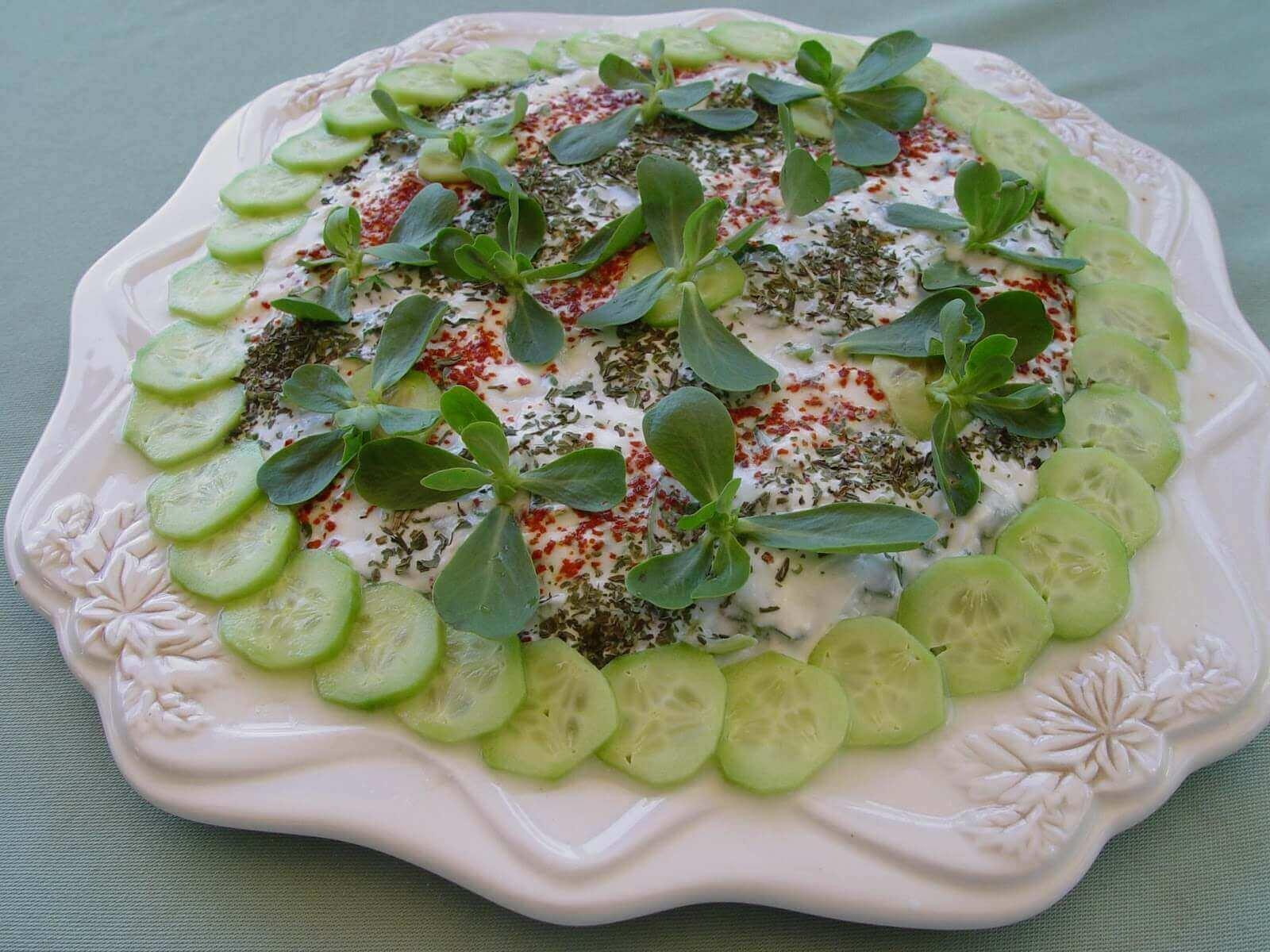 Feldsalat mit Joghurt - Yoğurtlu Semizotu Salatası