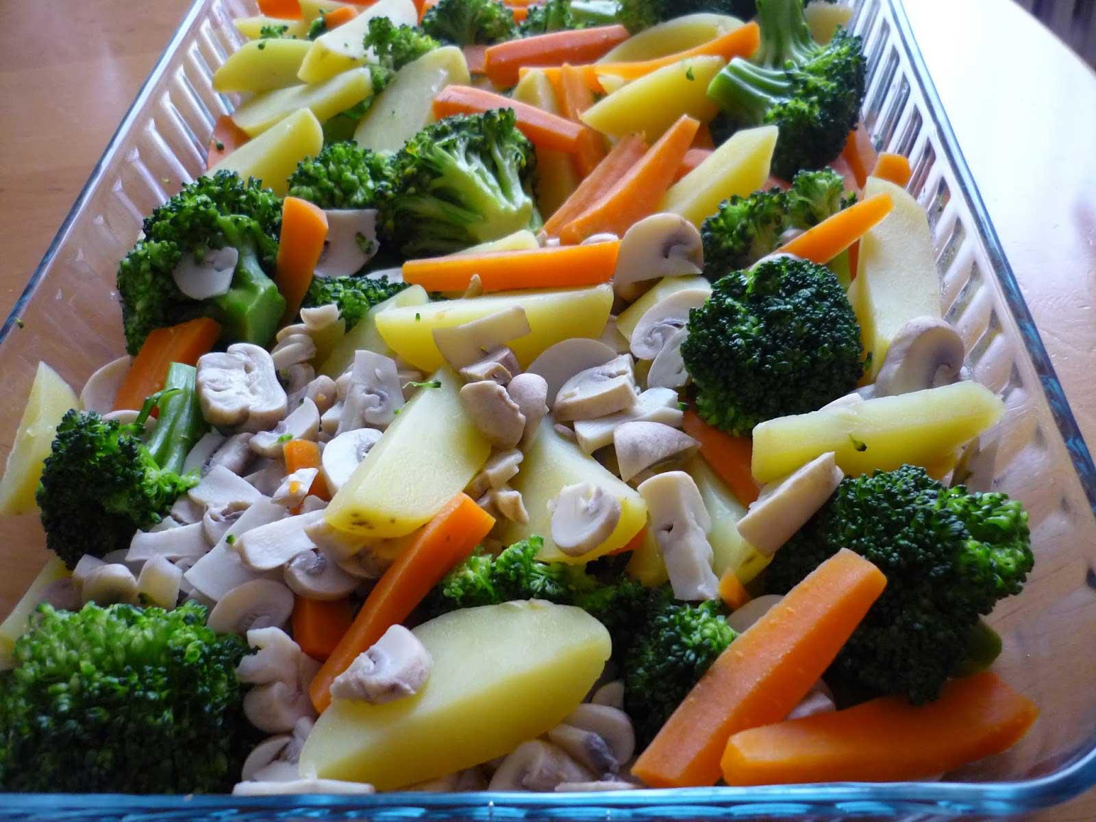 Gemüse-Auflauf mit Champignons -Fırında Sebzeli Mantar