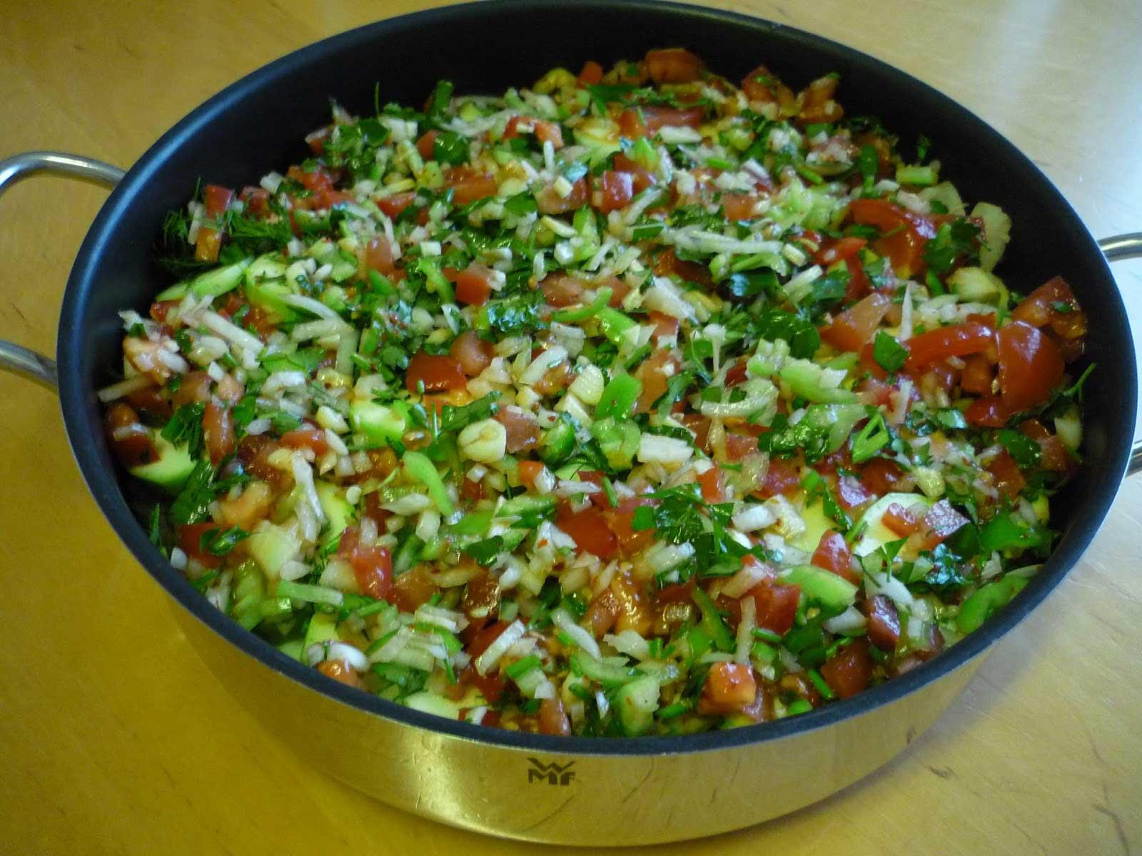 Zucchini und Auberginen mit Olivenöl - Zeytinyağlı Kabak ve Patlıcan