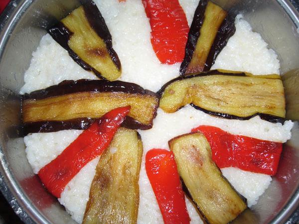 Rindfleisch mit Gemüse und Reis - Maklube